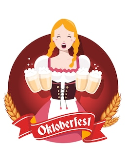 Colorful illustration of german girl waitress in traditional clothes holding yellow beer mugs, ears wheat, red ribbon, text on white background. oktoberfest festival and greeting.
