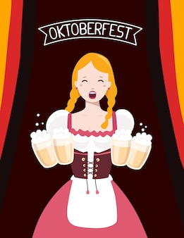 Colorful illustration of german girl waitress in traditional clothes holding yellow beer mugs, flag ribbon, text on dark background. oktoberfest festival and greeting.