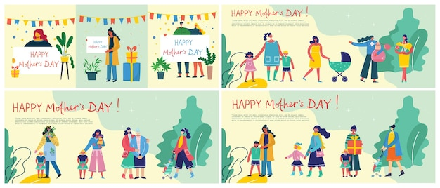 Colorful   illustration of happy mother's day .