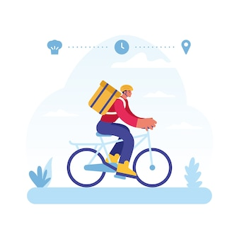 Colorful   illustration of  male courier character riding bicycle representing express food delivery service from restaurant to client