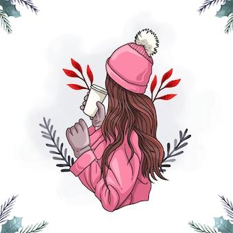 커피를 마시는 아름다운 여성의 다채로운 그림
