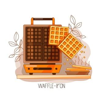 Красочная иллюстрация вафельницы и бельгийских вафель. сладкий завтрак. вектор.