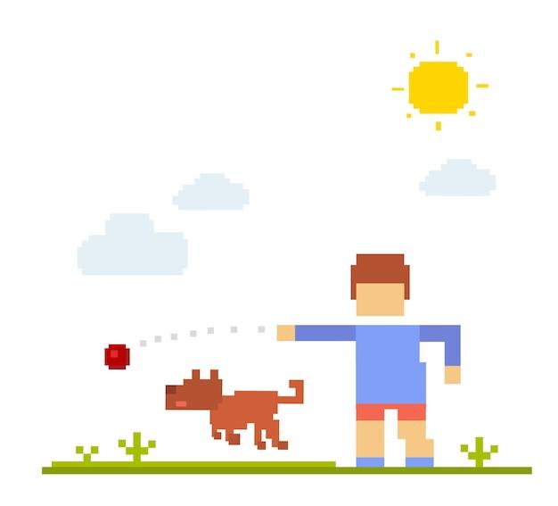 犬と少年のカラフルなイラスト。白い背景での幸せな友達。子供が歩いて、屋外の犬と一緒にボールをプレーします。犬との友情のレトロなピクセルアート