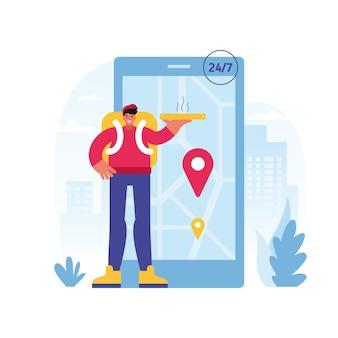 Красочная иллюстрация веселого мужчины-курьера, доставляющего горячую пиццу, представляющая круглосуточную службу заказа и доставки еды онлайн