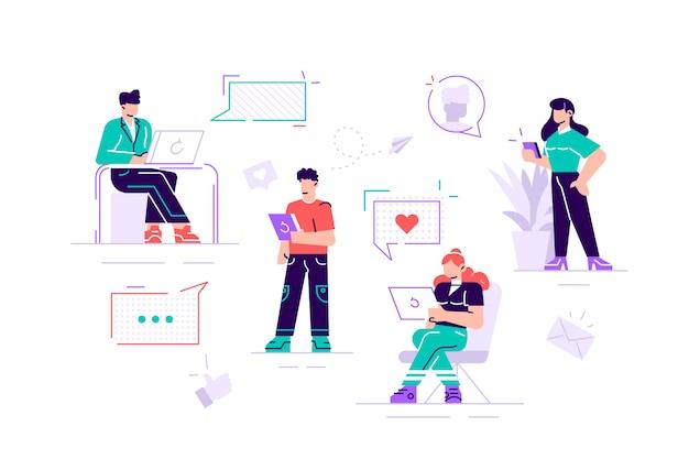 Красочные иллюстрации общения через интернет, социальные сети, чат, видео, новости, сообщения, веб-сайт, поиск друзей, мобильная веб-графика. современный дизайн плоский стиль иллюстрации