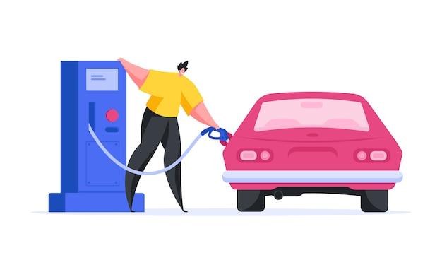Красочная иллюстрация современного мультяшного водителя, наливающего бензин в бак транспортного средства, стоя возле насоса на современной заправочной станции