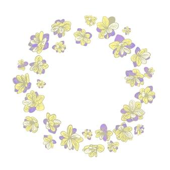花の花輪のカラフルなイラストハンドドローフレーム招待状グリーティングカードとポスターの使用