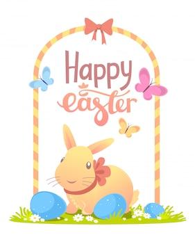 노란 토끼, 프레임 및 흰색 배경에 계란 행복 한 부활절 인사의 다채로운 그림.