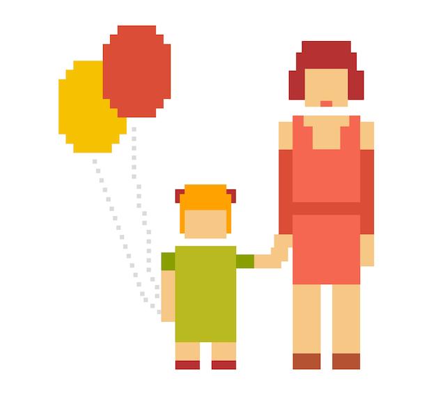 小さな女の子と女性のカラフルなイラスト。幸せな家族のカップル。ママと娘が一緒に。母と娘の関係のレトロなピクセルアート
