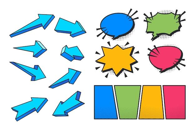 さまざまなプレゼンテーション要素のカラフルなイラスト