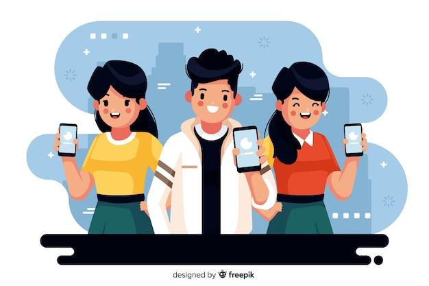 携帯電話を見て若い人たちのカラフルなイラスト