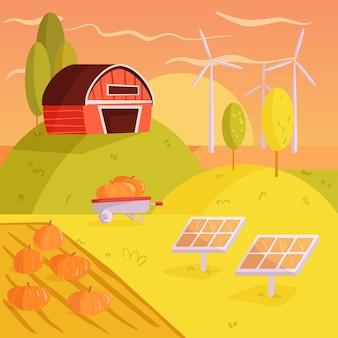 Colorful illustration of organic farming concept