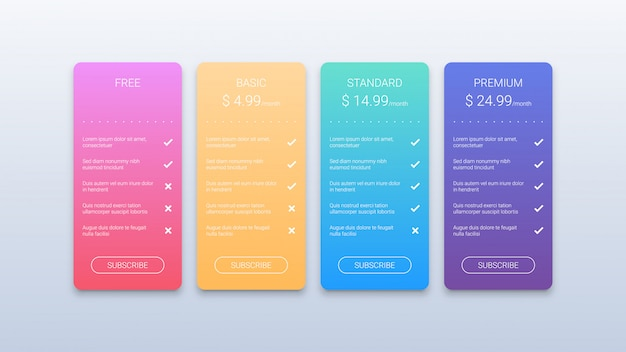 Colorful illustration of pricing table with four options isolated