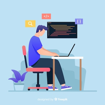 Colorful illustration of programmer working