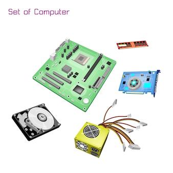 Colorful illustration set of desktop computer equipment