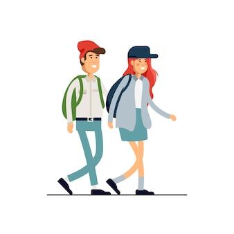 Набор красочных иллюстраций постоянных счастливых романтических пар, идущих вместе. плоские персонажи мультфильмов битник, изолированные на белом фоне.