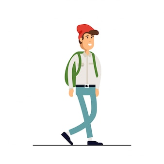 Colorful   illustration standing happy young man wearing shirt and denim pants. flat cartoon hipster character isolated  .