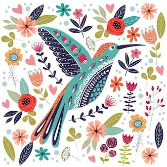 Красочные иллюстрации с красивой абстрактной народной птицей и цветами. Premium векторы