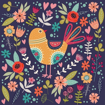 Colorful illustration with beautiful abstract folk bird and flowers.