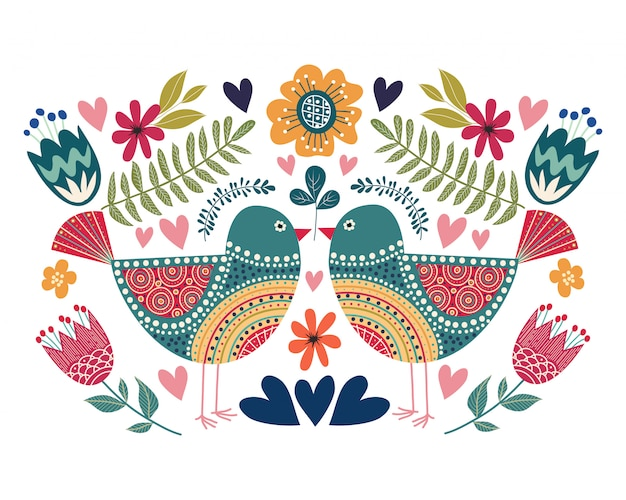 Colorful illustration with couple bird, flowers and folk design elements