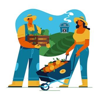 農業の概念とカラフルなイラスト