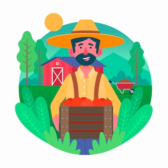 Colorful illustration with farming theme