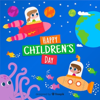 Colorful illustration with flat design for childrens day
