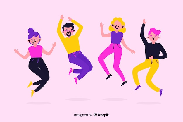 Colorful illustration with group of people jumping