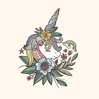 手描きのユニコーンの花とカラフルなイラスト