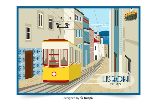 Colorful illustration with lisbon city