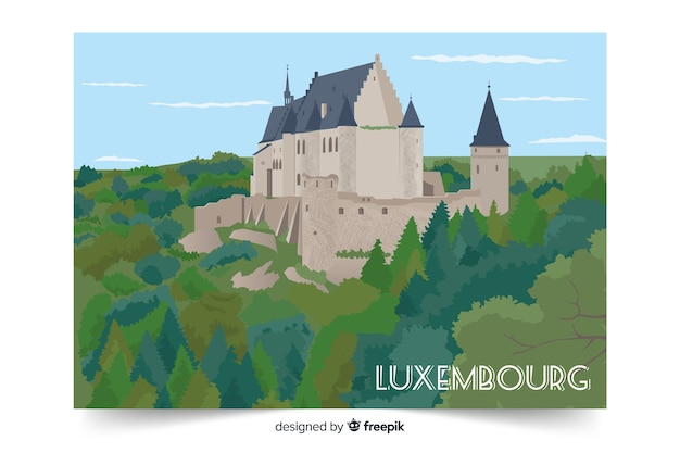 Colorful illustration with luxembourg palace