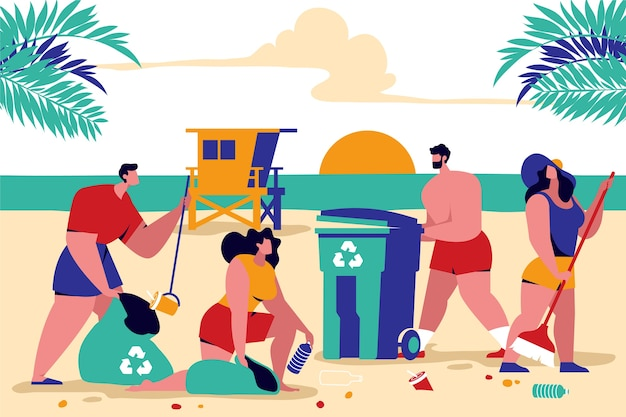 Colorful illustration with people cleaning beach