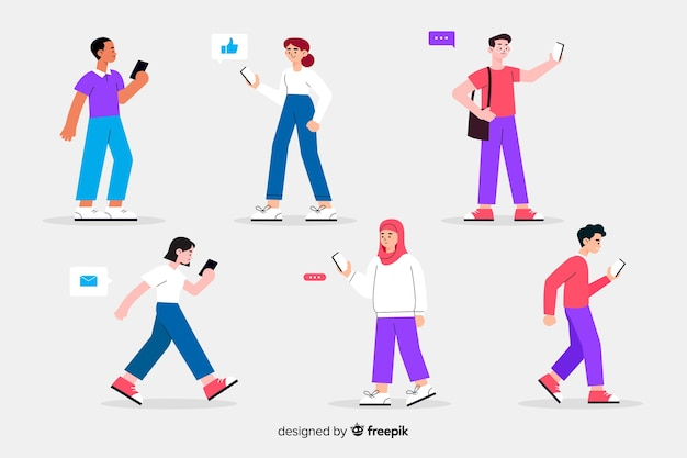 Colorful illustration with people holding smartphones