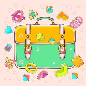Colorful illustration of yellow and green backpack on light background with abstract elements.