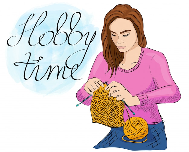 Colorful illustration of a young girl knitting