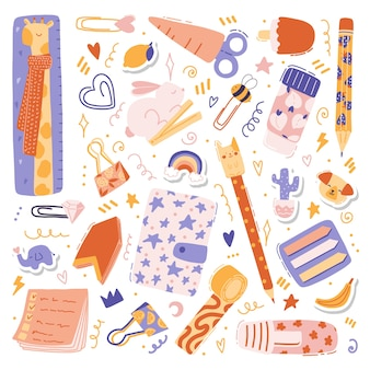 Colorful illustrations with cute stationary set - pen, pencil, ruler, notepad, stickers, pins, scissors, tape with fruits and animals