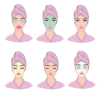 Colorful image illustrated steps of washing of pretty woman with comedo