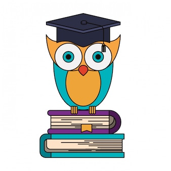 Colorful image of owl knowledge with cap graduation on stack of books