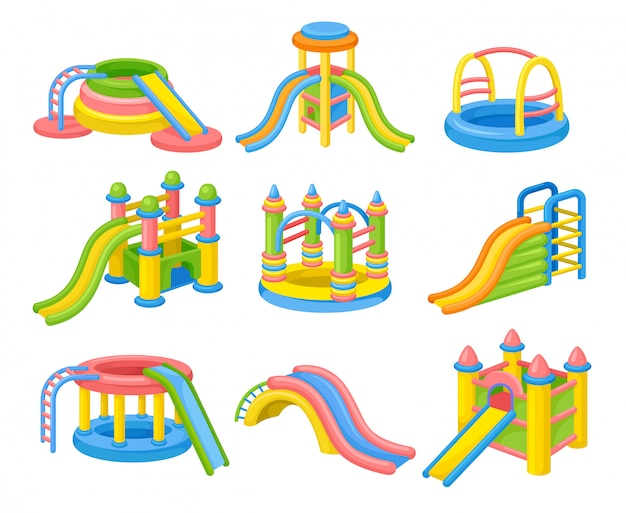 Colorful inable slides concept. illustration.