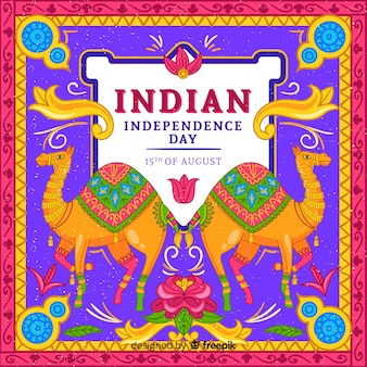 Colorful independence day of india background