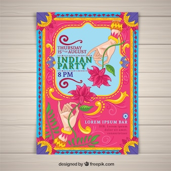 Colorful independence day of india poster