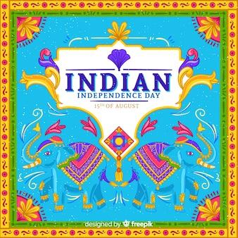 インドの背景のカラフルな独立記念日