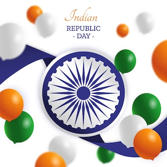Colorful indian republic day in flat design