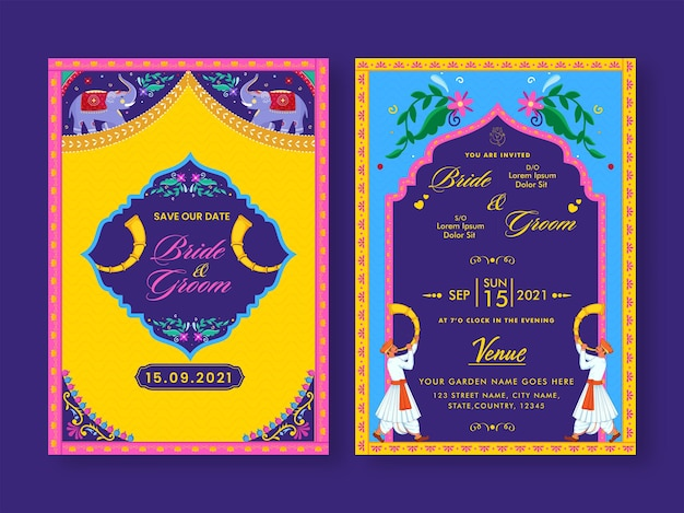 Colorful indian wedding invitation card on purple background.