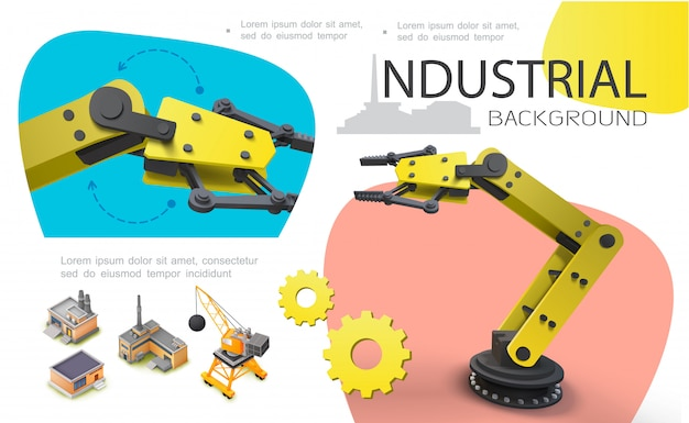 Colorful industrial composition with realistic mechanical robotic arms isometric construction crane manufacturing buildings and warehouse