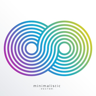 Colorful infinity symbol made with stripes