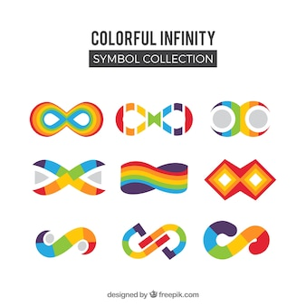 Colorful infinity symbols collection