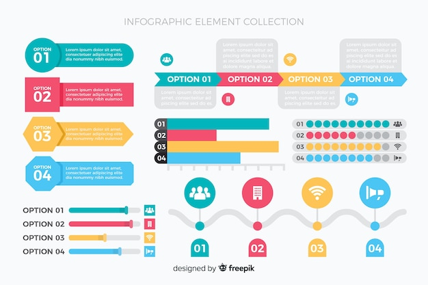 Colorful infographic charts collection template