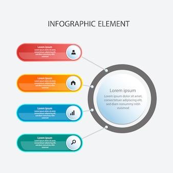 Цветной шаблон инфографического дизайна