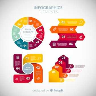 Colorful infographic element collection with flat design